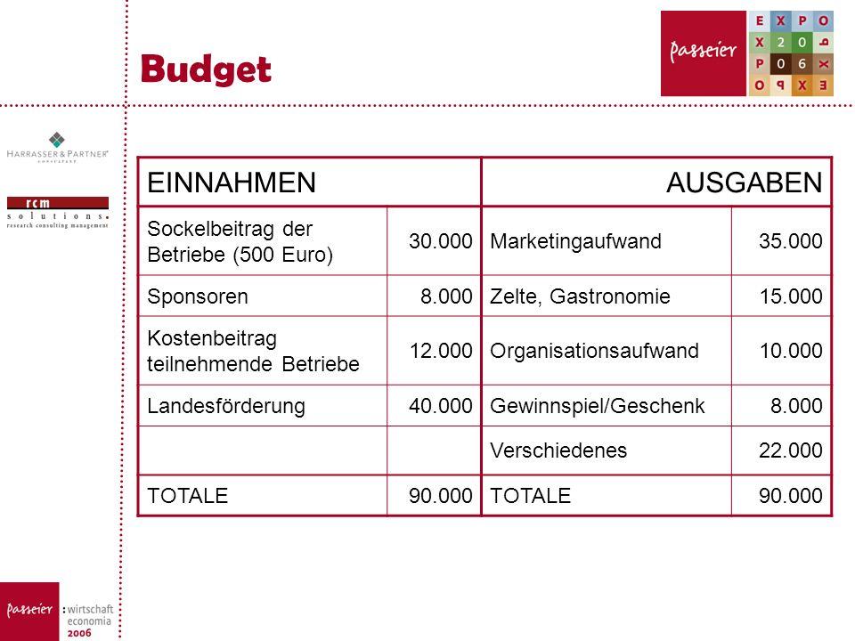 Budget EINNAHMENAUSGABEN Sockelbeitrag der Betriebe (500 Euro) 30.000Marketingaufwand35.000 Sponsoren8.000Zelte, Gastronomie15.000 Kostenbeitrag teiln