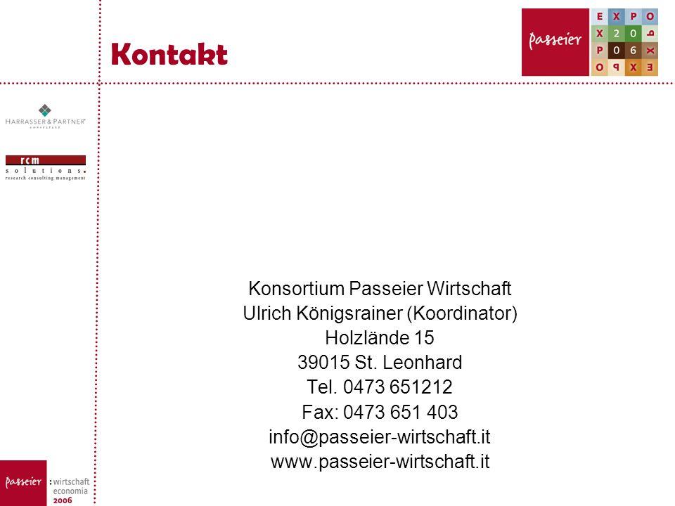 Kontakt Konsortium Passeier Wirtschaft Ulrich Königsrainer (Koordinator) Holzlände 15 39015 St. Leonhard Tel. 0473 651212 Fax: 0473 651 403 info@passe