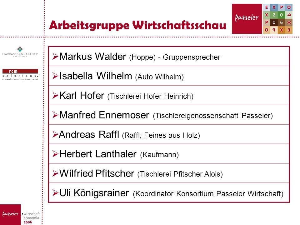 Arbeitsgruppe Wirtschaftsschau Markus Walder (Hoppe) - Gruppensprecher Isabella Wilhelm (Auto Wilhelm) Karl Hofer (Tischlerei Hofer Heinrich) Manfred