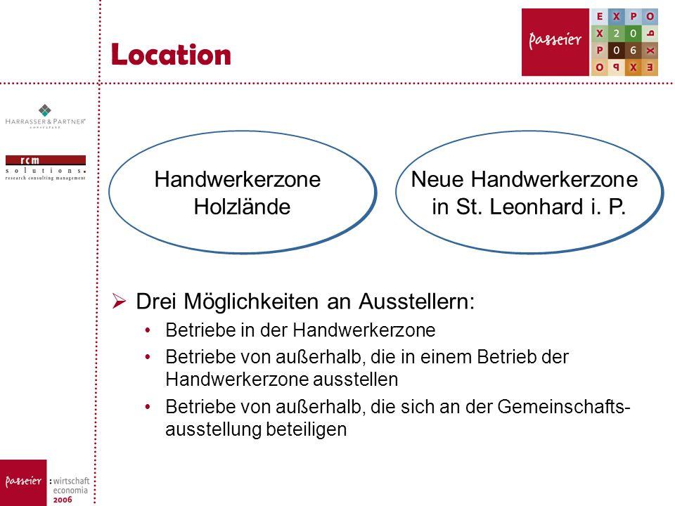 Location Drei Möglichkeiten an Ausstellern: Betriebe in der Handwerkerzone Betriebe von außerhalb, die in einem Betrieb der Handwerkerzone ausstellen