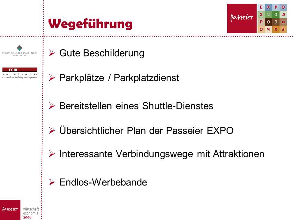 Wegeführung Gute Beschilderung Parkplätze / Parkplatzdienst Bereitstellen eines Shuttle-Dienstes Übersichtlicher Plan der Passeier EXPO Interessante V