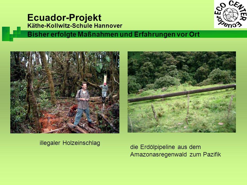 Ecuador-Projekt Käthe-Kollwitz-Schule Hannover illegaler Holzeinschlag die Erdölpipeline aus dem Amazonasregenwald zum Pazifik Bisher erfolgte Maßnahmen und Erfahrungen vor Ort
