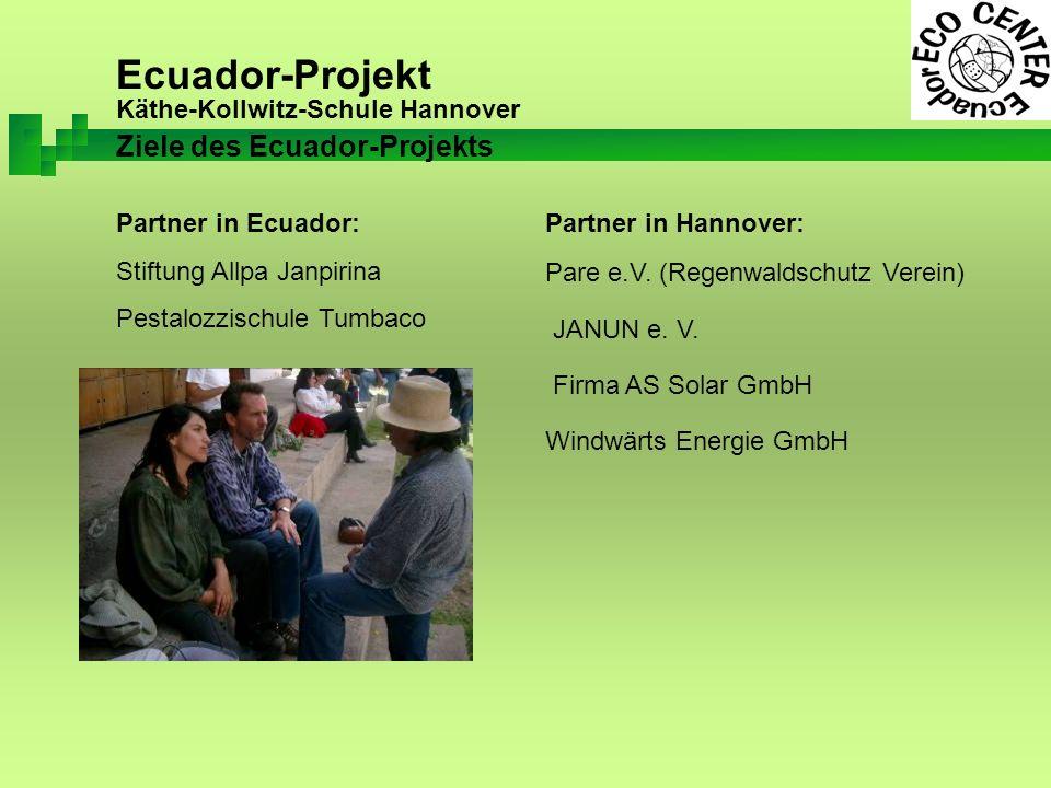 Ecuador-Projekt Käthe-Kollwitz-Schule Hannover Partner in Ecuador: Stiftung Allpa Janpirina Pestalozzischule Tumbaco Partner in Hannover: Pare e.V.