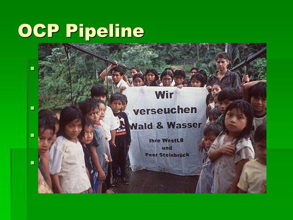 OCP Pipeline 500 Kilometer lange Pipeline durch das Amazonasbecken 500 Kilometer lange Pipeline durch das Amazonasbecken unberührte Regenwälder unberührte Regenwälder 11 geschützte Gebiete 11 geschützte Gebiete Menschen sterben durch den Bau Menschen sterben durch den Bau