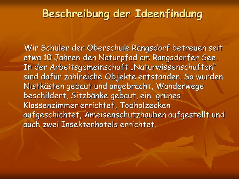 Beschreibung der Ideenfindung Wir Schüler der Oberschule Rangsdorf betreuen seit etwa 10 Jahren den Naturpfad am Rangsdorfer See. In der Arbeitsgemein