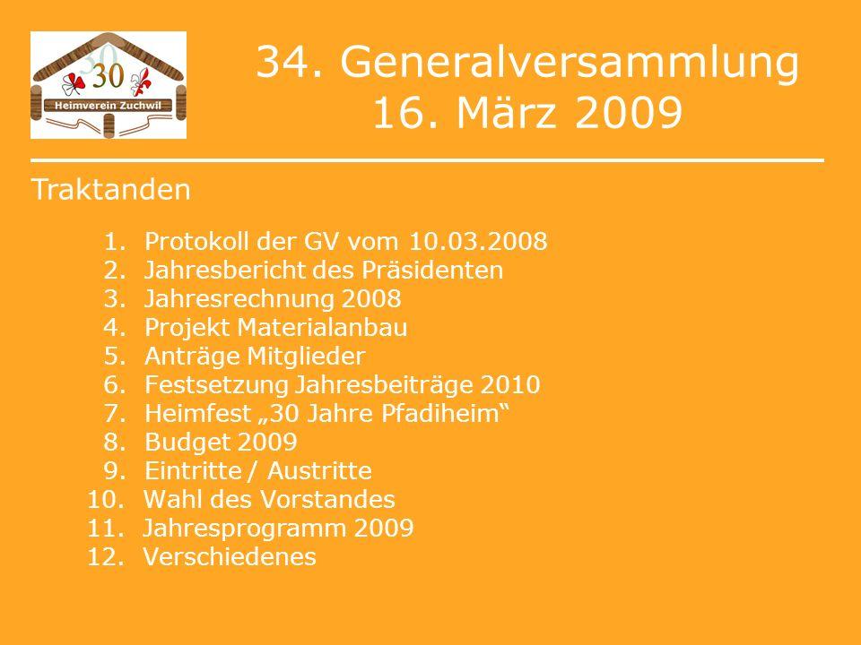 34. Generalversammlung 16. März 2009 1. Protokoll der GV vom 10.03.2008 2.
