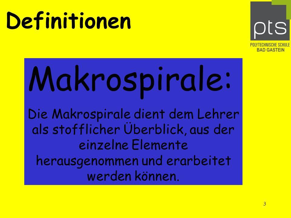 3 Definitionen Makrospirale: Die Makrospirale dient dem Lehrer als stofflicher Überblick, aus der einzelne Elemente herausgenommen und erarbeitet werden können.