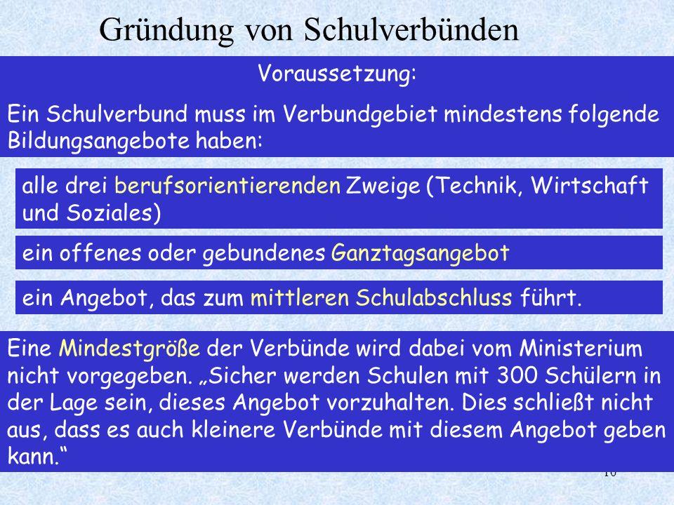 10 Voraussetzung: Ein Schulverbund muss im Verbundgebiet mindestens folgende Bildungsangebote haben: alle drei berufsorientierenden Zweige (Technik, W