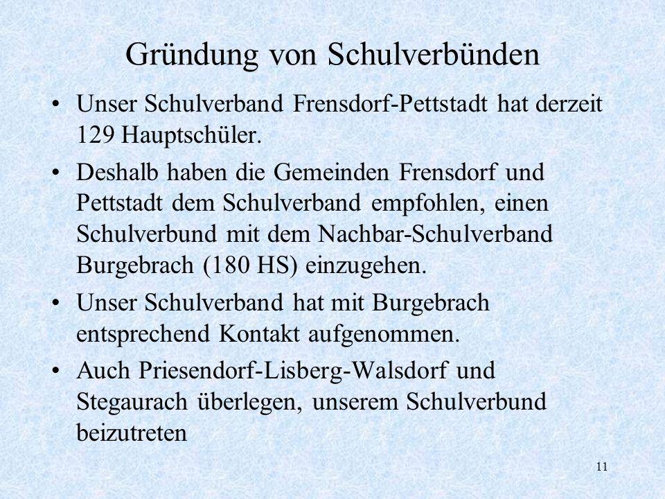 11 Gründung von Schulverbünden Unser Schulverband Frensdorf-Pettstadt hat derzeit 129 Hauptschüler. Deshalb haben die Gemeinden Frensdorf und Pettstad