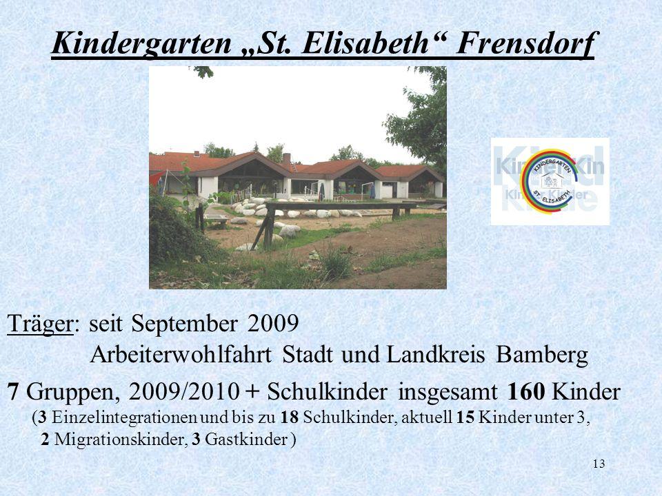 13 Kindergarten St. Elisabeth Frensdorf Träger: seit September 2009 Arbeiterwohlfahrt Stadt und Landkreis Bamberg 7 Gruppen, 2009/2010 + Schulkinder i