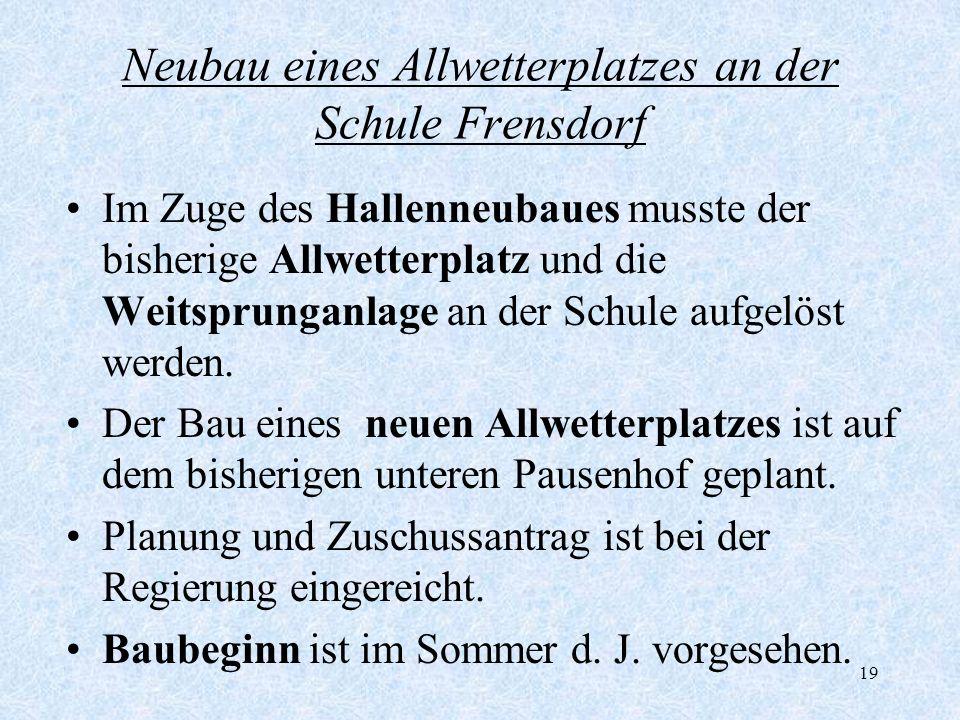 19 Neubau eines Allwetterplatzes an der Schule Frensdorf Im Zuge des Hallenneubaues musste der bisherige Allwetterplatz und die Weitsprunganlage an de