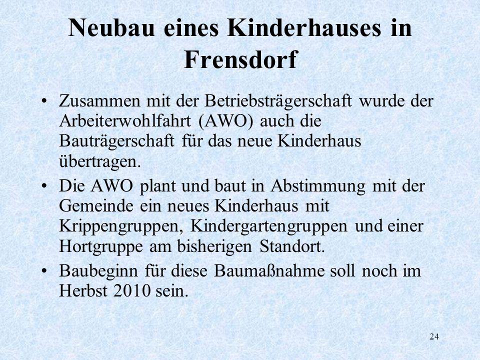 24 Neubau eines Kinderhauses in Frensdorf Zusammen mit der Betriebsträgerschaft wurde der Arbeiterwohlfahrt (AWO) auch die Bauträgerschaft für das neu