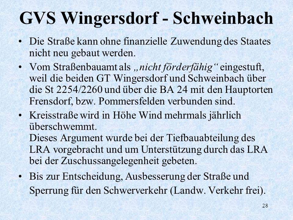 28 GVS Wingersdorf - Schweinbach Die Straße kann ohne finanzielle Zuwendung des Staates nicht neu gebaut werden. Vom Straßenbauamt als nicht förderfäh