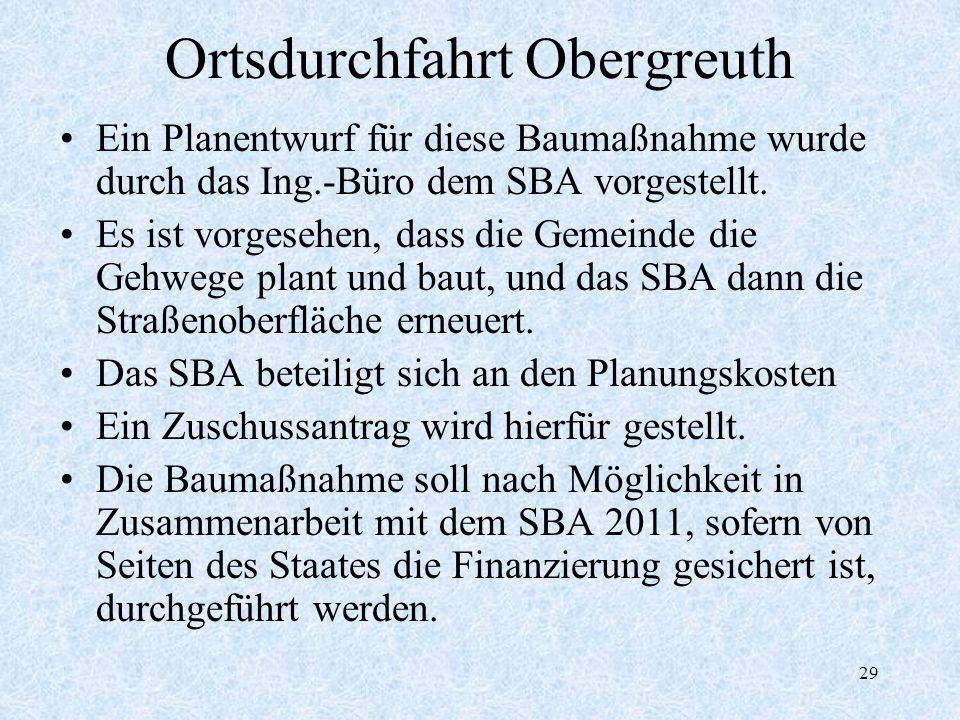 29 Ortsdurchfahrt Obergreuth Ein Planentwurf für diese Baumaßnahme wurde durch das Ing.-Büro dem SBA vorgestellt. Es ist vorgesehen, dass die Gemeinde