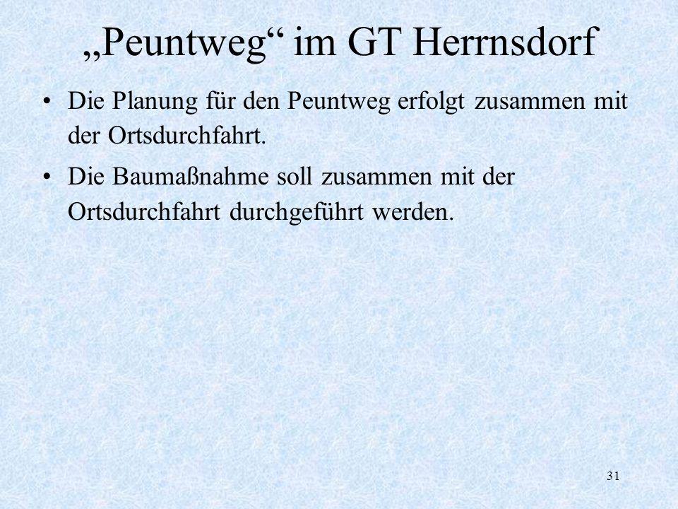 31 Peuntweg im GT Herrnsdorf Die Planung für den Peuntweg erfolgt zusammen mit der Ortsdurchfahrt. Die Baumaßnahme soll zusammen mit der Ortsdurchfahr