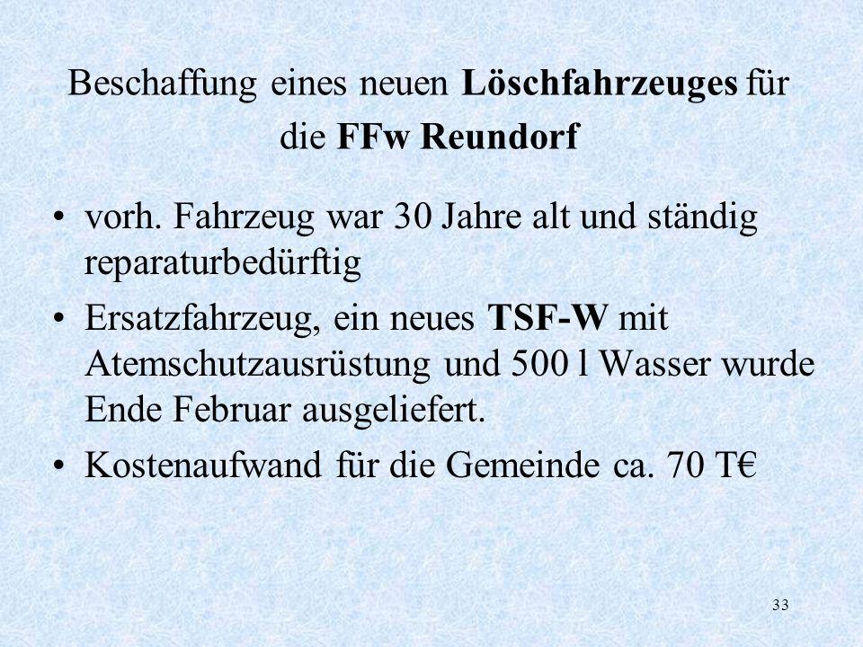 33 Beschaffung eines neuen Löschfahrzeuges für die FFw Reundorf vorh. Fahrzeug war 30 Jahre alt und ständig reparaturbedürftig Ersatzfahrzeug, ein neu
