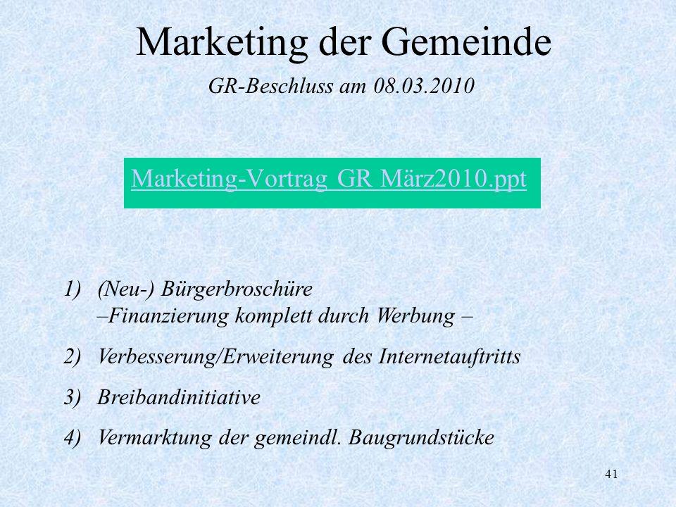 41 Marketing der Gemeinde Marketing-Vortrag GR März2010.ppt GR-Beschluss am 08.03.2010 1)(Neu-) Bürgerbroschüre –Finanzierung komplett durch Werbung –