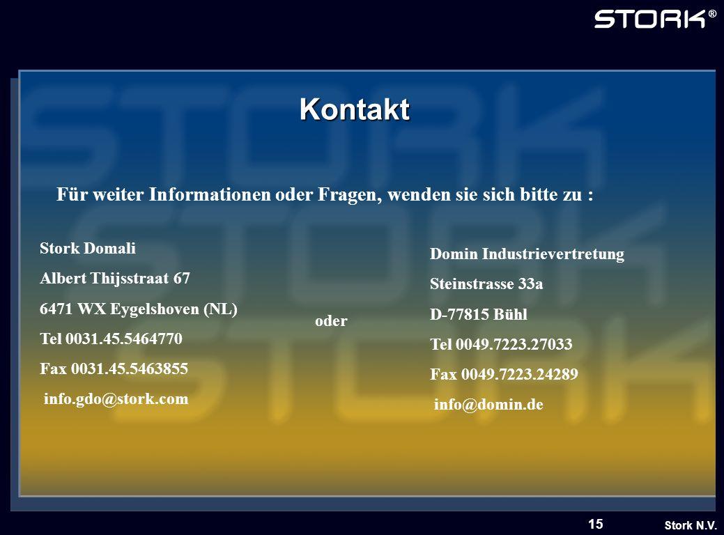 Stork N.V. ® 15 Kontakt Für weiter Informationen oder Fragen, wenden sie sich bitte zu : Stork Domali Albert Thijsstraat 67 6471 WX Eygelshoven (NL) T