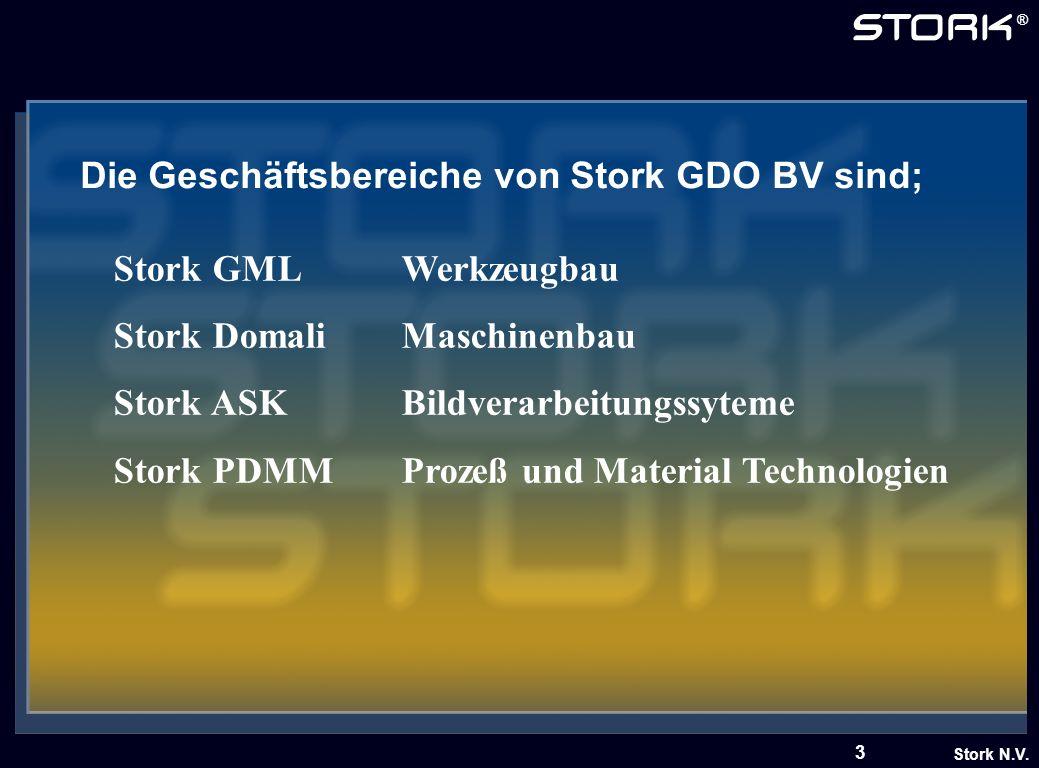 Stork N.V. ® 3 Die Geschäftsbereiche von Stork GDO BV sind; Stork GMLWerkzeugbau Stork DomaliMaschinenbau Stork ASKBildverarbeitungssyteme Stork PDMMP