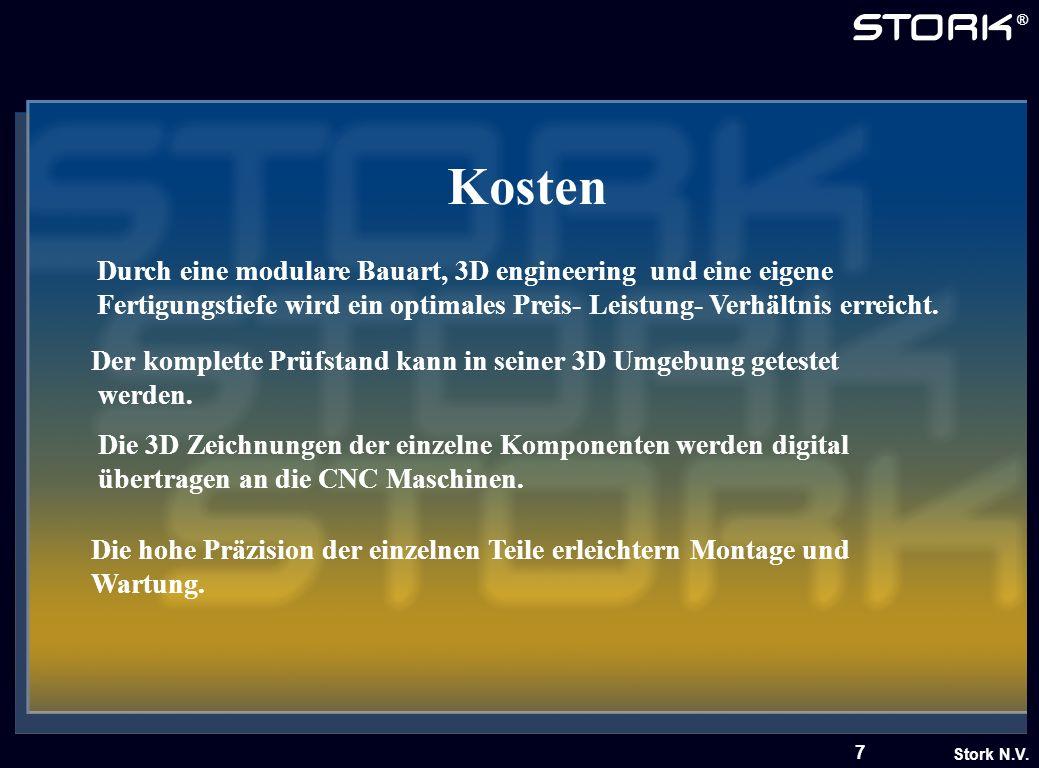 Stork N.V. ® 7 Kosten Durch eine modulare Bauart, 3D engineering und eine eigene Fertigungstiefe wird ein optimales Preis- Leistung- Verhältnis erreic