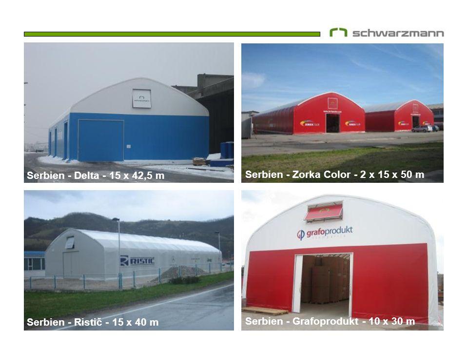 Serbien - Zorka Color - 2 x 15 x 50 m Serbien - Grafoprodukt - 10 x 30 m Serbien - Delta - 15 x 42,5 m Serbien - Ristič - 15 x 40 m