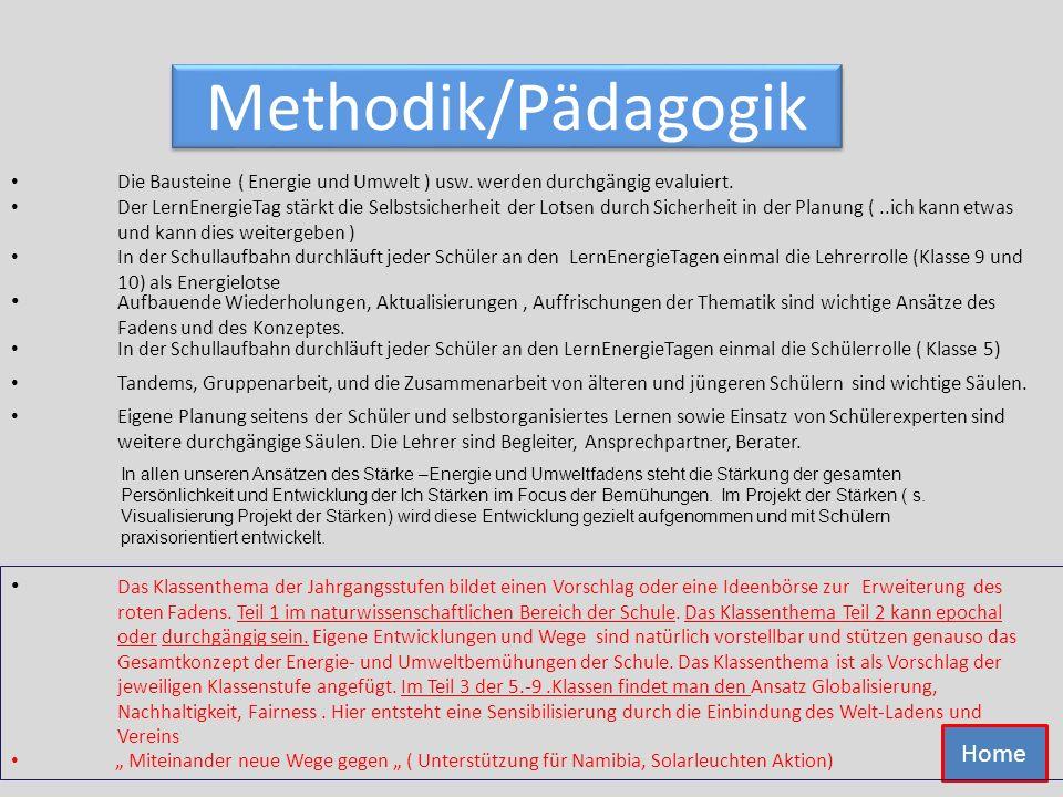 Methodik/Pädagogik Tandems, Gruppenarbeit, und die Zusammenarbeit von älteren und jüngeren Schülern sind wichtige Säulen. Eigene Planung seitens der S
