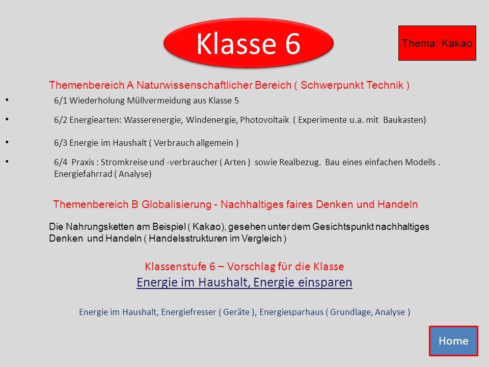 Klasse 6 6/1 Wiederholung Müllvermeidung aus Klasse 5 6/2 Energiearten: Wasserenergie, Windenergie, Photovoltaik ( Experimente u.a. mit Baukasten) 6/4