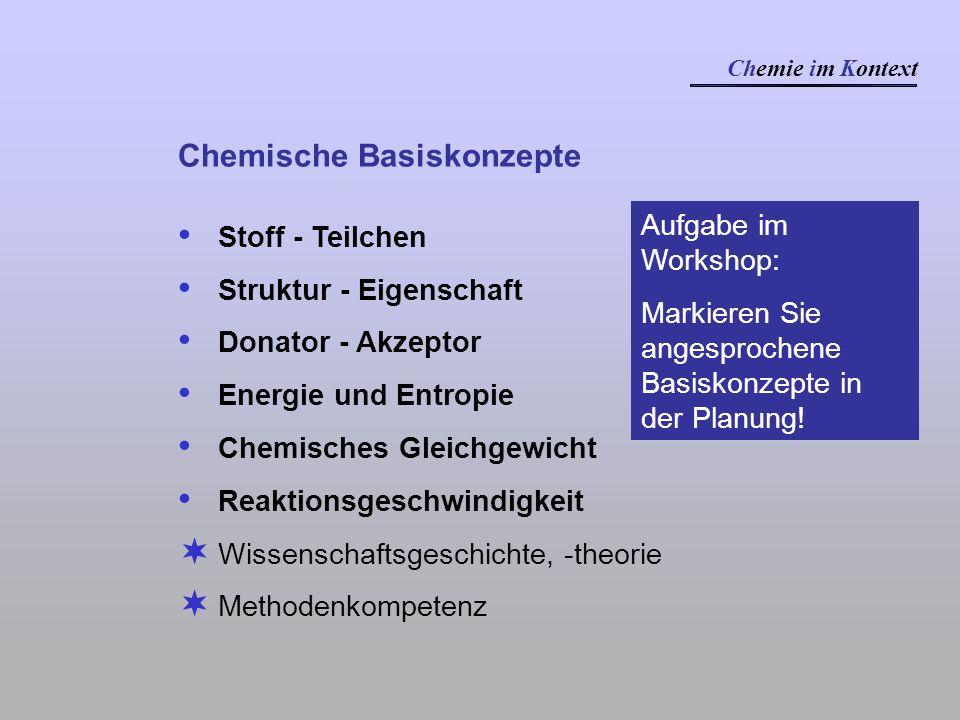Chemische Basiskonzepte Stoff - Teilchen Struktur - Eigenschaft Donator - Akzeptor Energie und Entropie Chemisches Gleichgewicht Reaktionsgeschwindigk