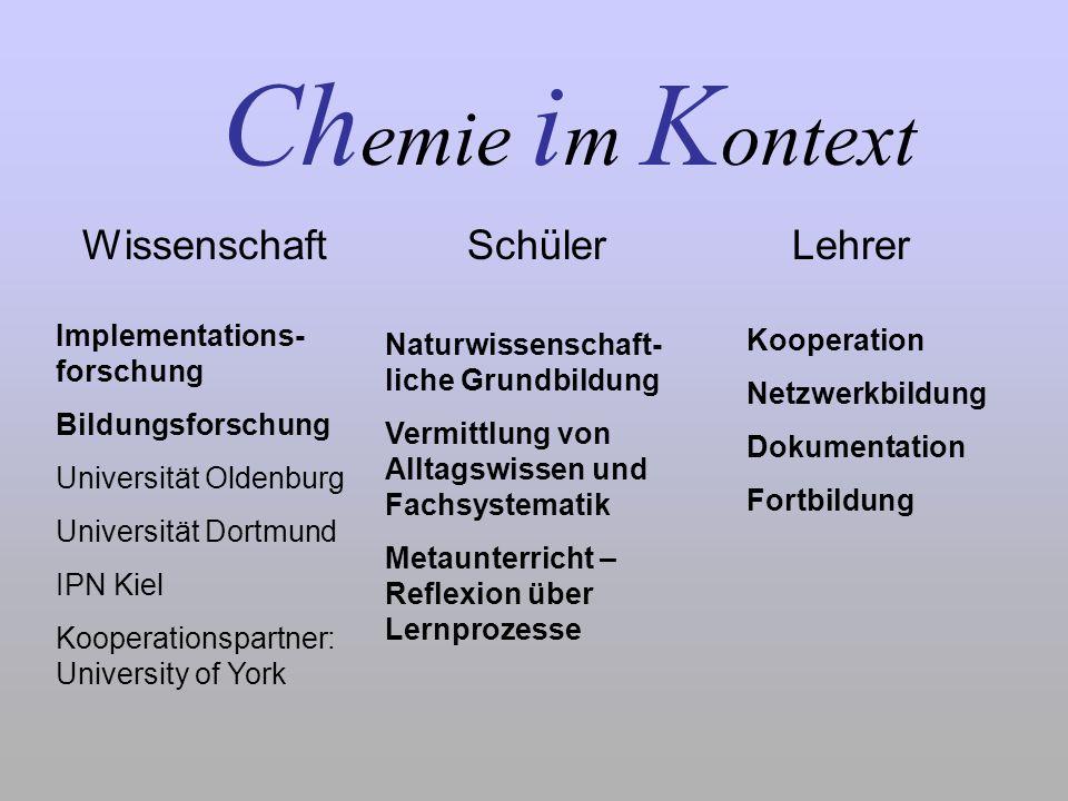 Ch emie i m K ontext Wissenschaft Schüler Lehrer Implementations- forschung Bildungsforschung Universität Oldenburg Universität Dortmund IPN Kiel Koop