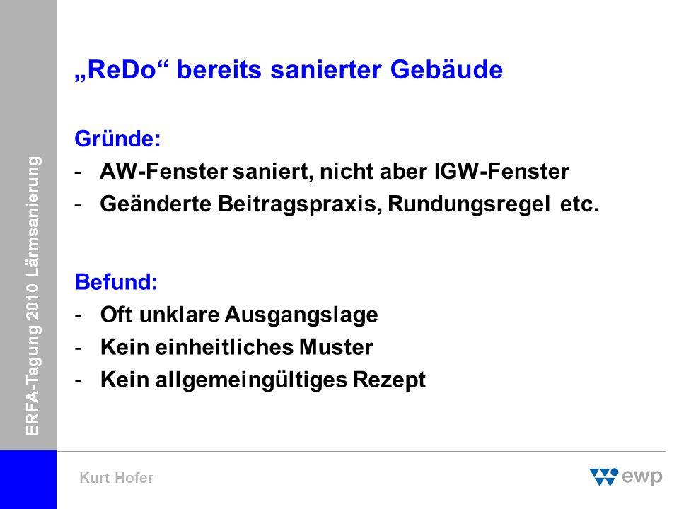 ERFA-Tagung 2010 Lärmsanierung Kurt Hofer ReDo bereits sanierter Gebäude Gründe: -AW-Fenster saniert, nicht aber IGW-Fenster -Geänderte Beitragspraxis, Rundungsregel etc.