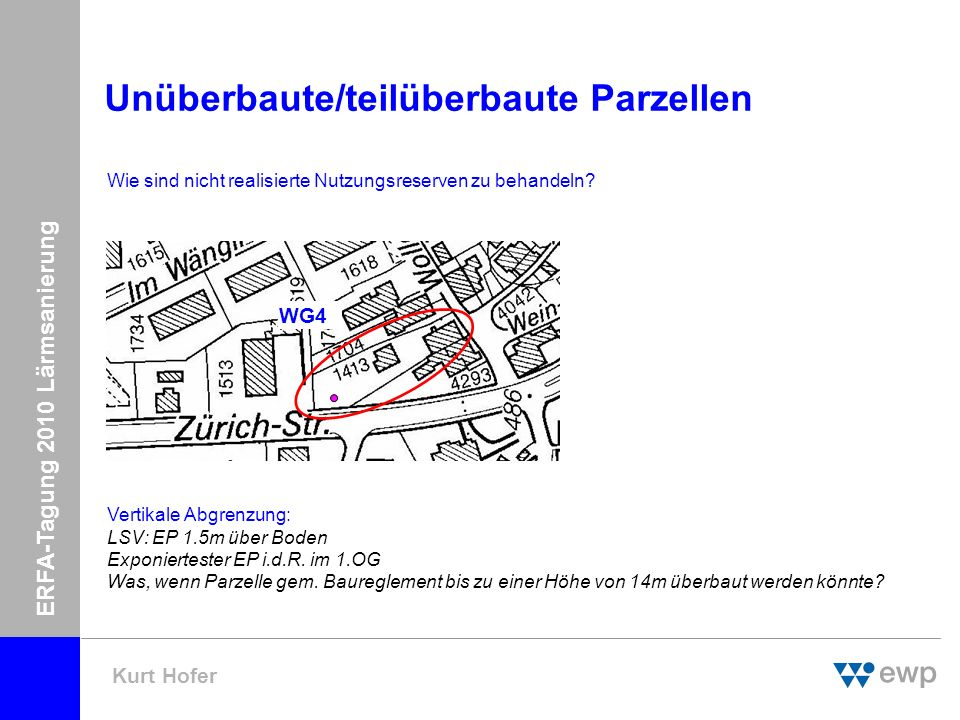 ERFA-Tagung 2010 Lärmsanierung Kurt Hofer Unüberbaute Parzellen Fazit: Rechtlich bewegt man sich ev.