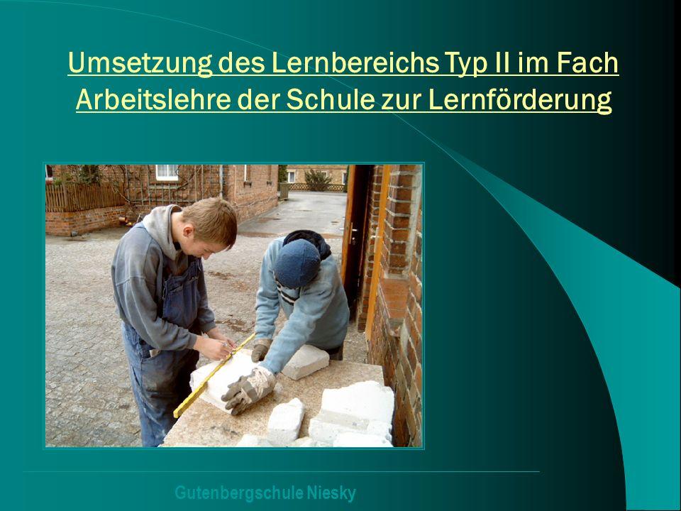 Gutenbergschule Niesky Umsetzung des Lernbereichs Typ II im Fach Arbeitslehre der Schule zur Lernförderung