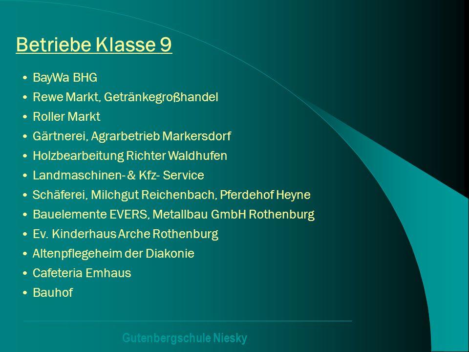 Gutenbergschule Niesky Betriebe Klasse 9 BayWa BHG Rewe Markt, Getränkegroßhandel Roller Markt Gärtnerei, Agrarbetrieb Markersdorf Holzbearbeitung Ric