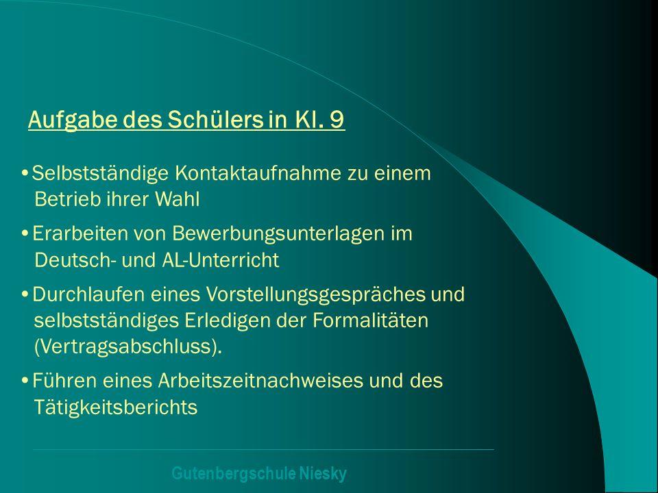 Gutenbergschule Niesky Aufgabe des Schülers in Kl. 9 Selbstständige Kontaktaufnahme zu einem Betrieb ihrer Wahl Erarbeiten von Bewerbungsunterlagen im