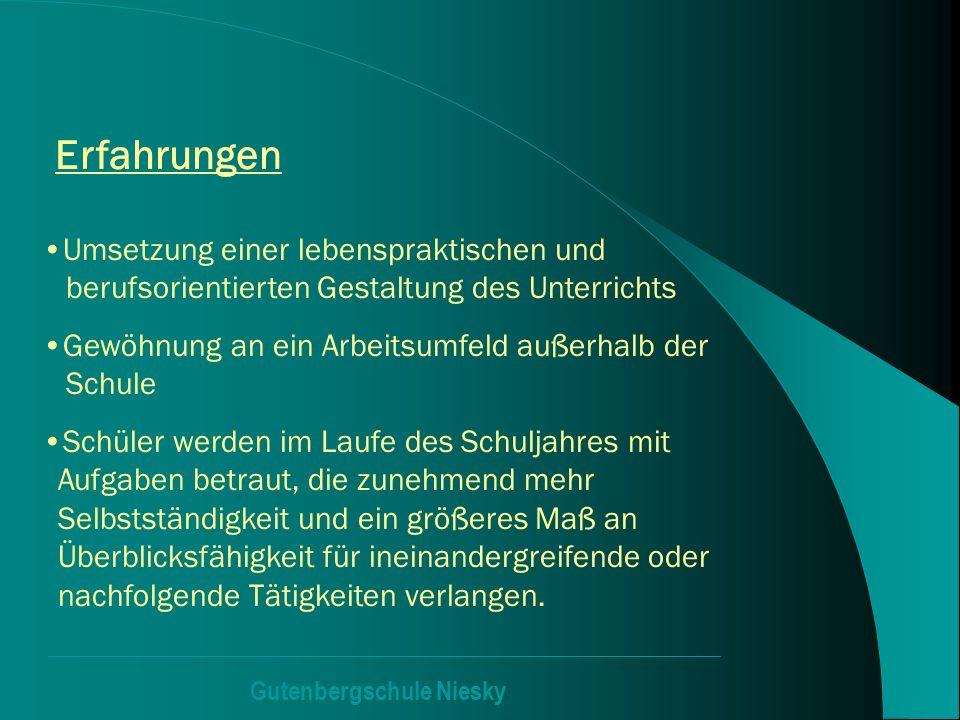 Gutenbergschule Niesky Erfahrungen Umsetzung einer lebenspraktischen und berufsorientierten Gestaltung des Unterrichts Gewöhnung an ein Arbeitsumfeld