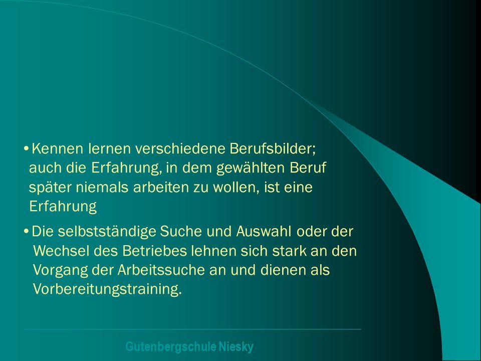 Gutenbergschule Niesky Kennen lernen verschiedene Berufsbilder; auch die Erfahrung, in dem gewählten Beruf später niemals arbeiten zu wollen, ist eine