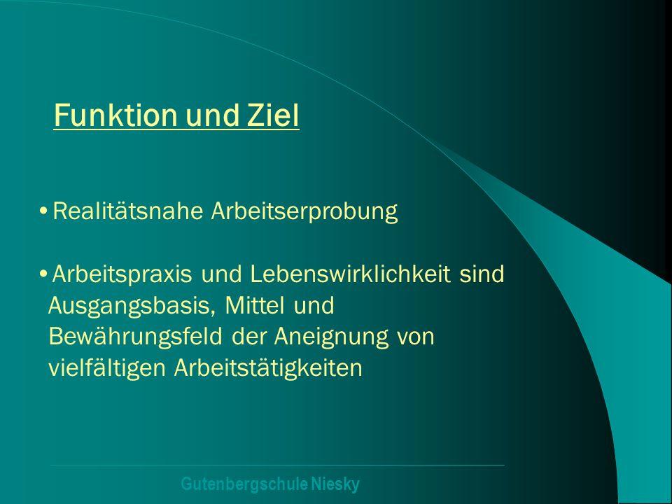 Gutenbergschule Niesky Funktion und Ziel Realitätsnahe Arbeitserprobung Arbeitspraxis und Lebenswirklichkeit sind Ausgangsbasis, Mittel und Bewährungs
