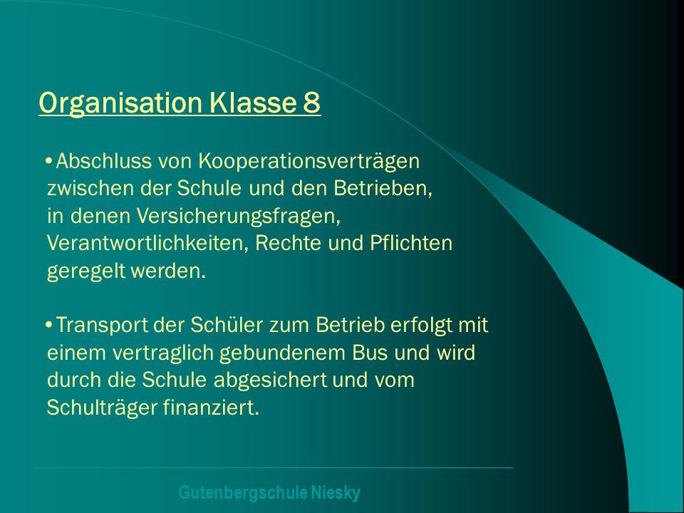 Gutenbergschule Niesky Organisation Klasse 8 Abschluss von Kooperationsverträgen zwischen der Schule und den Betrieben, in denen Versicherungsfragen,