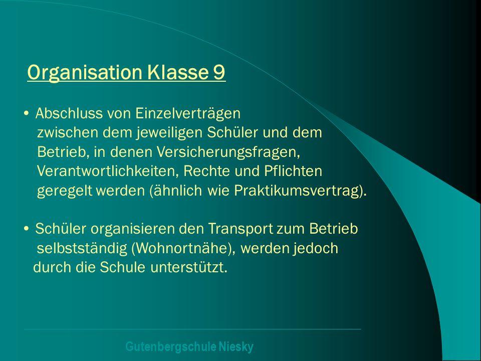Gutenbergschule Niesky Organisation Klasse 9 Abschluss von Einzelverträgen zwischen dem jeweiligen Schüler und dem Betrieb, in denen Versicherungsfrag