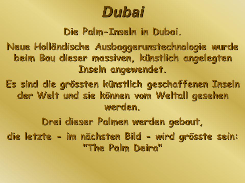 Dubai Die Palm-Inseln in Dubai. Neue Holländische Ausbaggerunstechnologie wurde beim Bau dieser massiven, künstlich angelegten Inseln angewendet. Es s