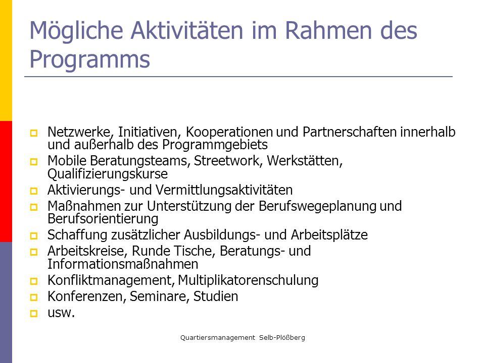 Quartiersmanagement Selb-Plößberg Mögliche Aktivitäten im Rahmen des Programms Netzwerke, Initiativen, Kooperationen und Partnerschaften innerhalb und