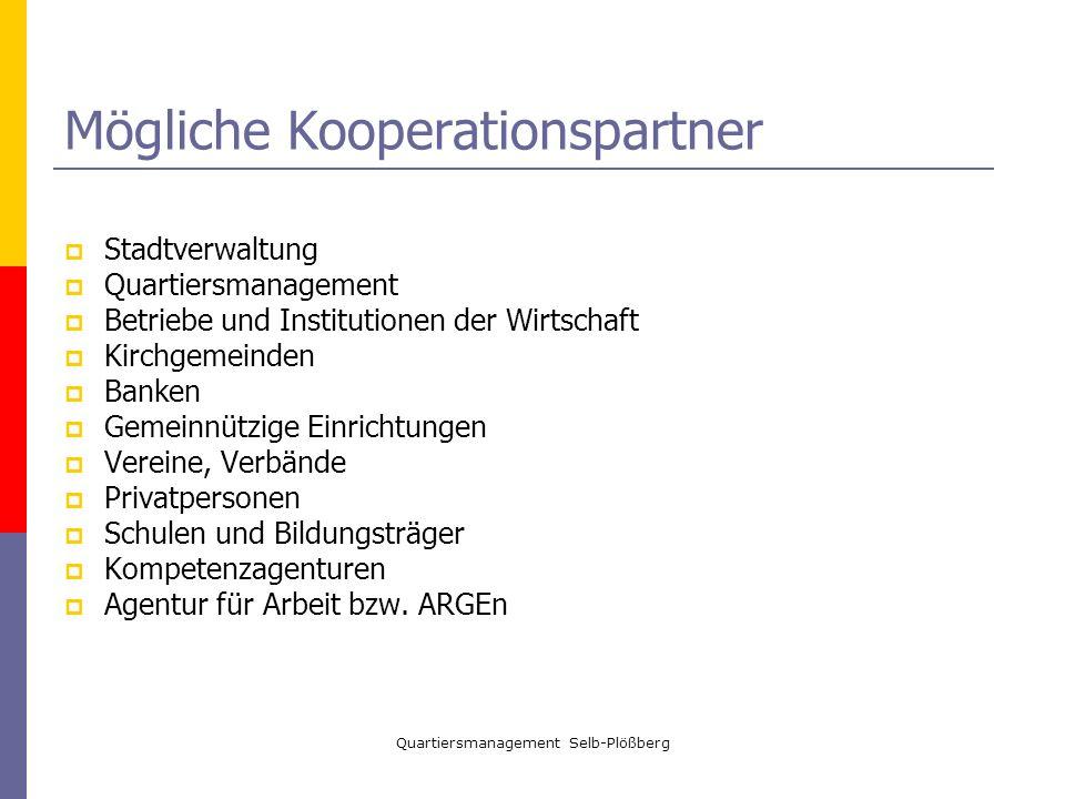 Quartiersmanagement Selb-Plößberg Mögliche Kooperationspartner Stadtverwaltung Quartiersmanagement Betriebe und Institutionen der Wirtschaft Kirchgeme