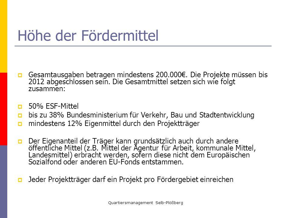 Quartiersmanagement Selb-Plößberg Höhe der Fördermittel Gesamtausgaben betragen mindestens 200.000. Die Projekte müssen bis 2012 abgeschlossen sein. D