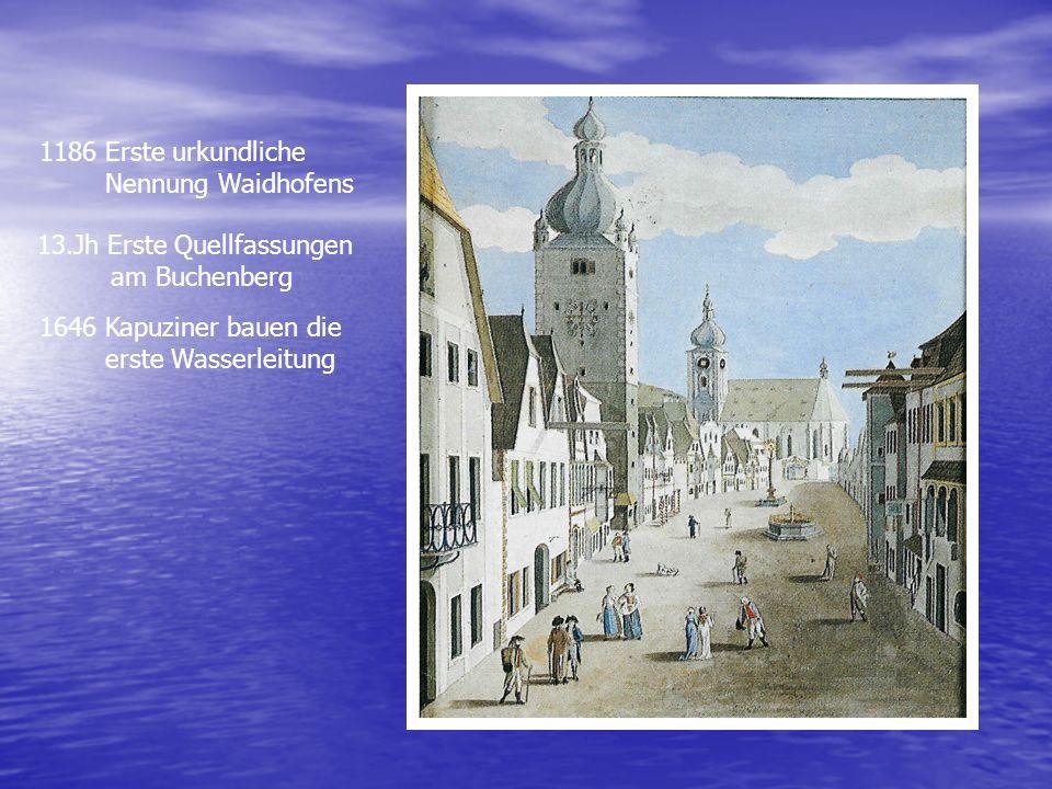 1186 Erste urkundliche Nennung Waidhofens 13.Jh Erste Quellfassungen am Buchenberg 1646 Kapuziner bauen die erste Wasserleitung