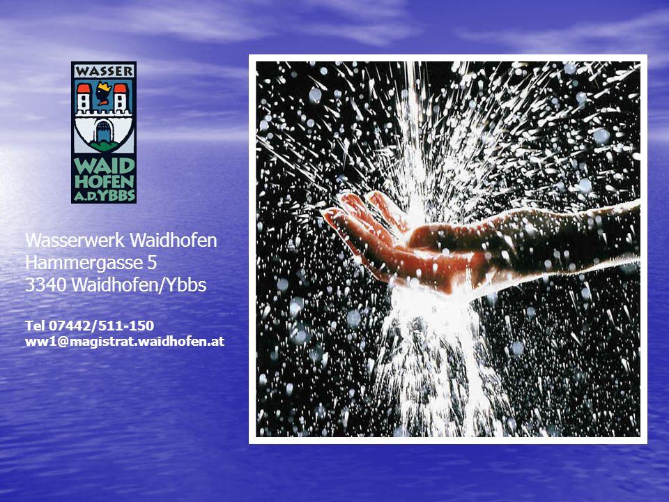 Wasserwerk Waidhofen Hammergasse 5 3340 Waidhofen/Ybbs Tel 07442/511-150 ww1@magistrat.waidhofen.at