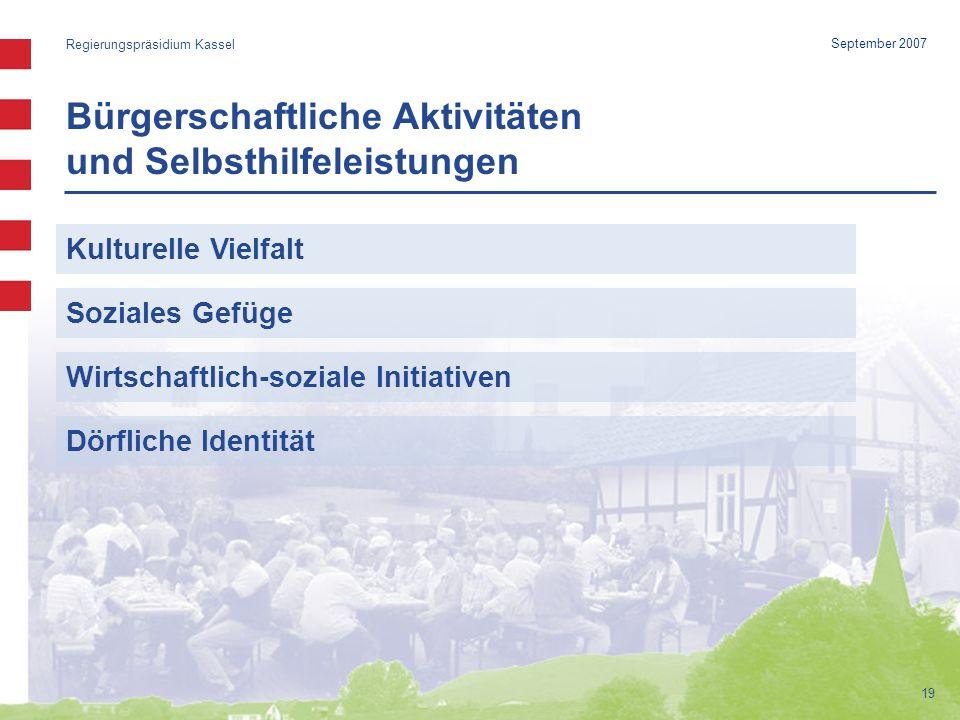 19 September 2007 Bürgerschaftliche Aktivitäten und Selbsthilfeleistungen Regierungspräsidium Kassel Kulturelle Vielfalt Soziales Gefüge Wirtschaftlich-soziale Initiativen Dörfliche Identität