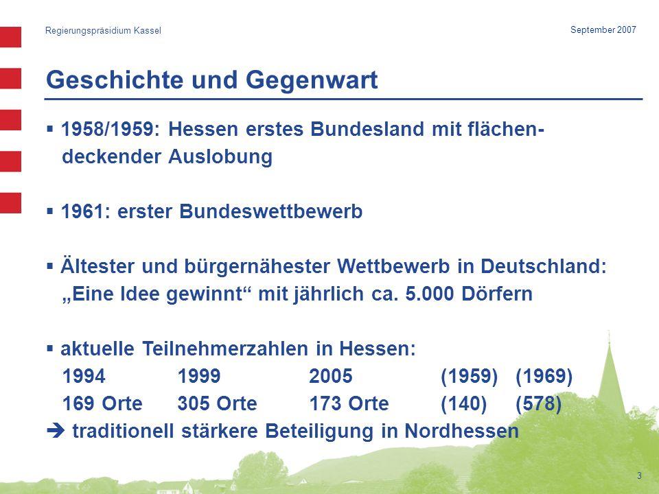 Geschichte und Gegenwart Regierungspräsidium Kassel 3 September 2007 1958/1959: Hessen erstes Bundesland mit flächen- deckender Auslobung 1961: erster Bundeswettbewerb Ältester und bürgernähester Wettbewerb in Deutschland: Eine Idee gewinnt mit jährlich ca.
