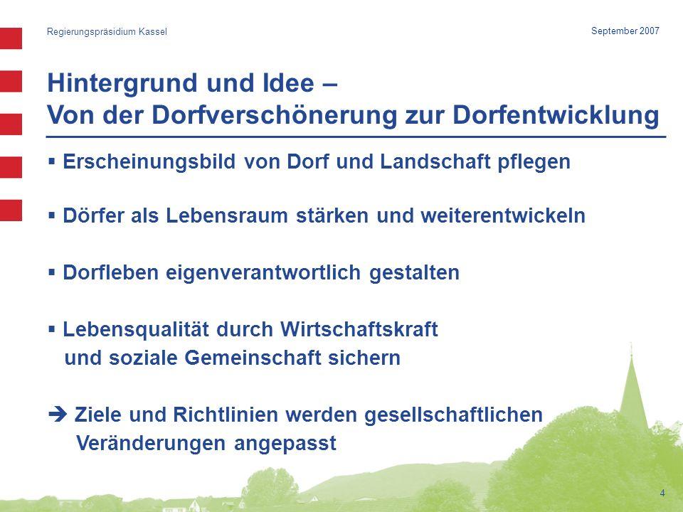 Aktuelle Herausforderungen (1) Regierungspräsidium Kassel 5 September 2007 Bevölkerungsentwicklung Wanderbewegungen Ortskerne verlieren Bewohner Neue Sozialstrukturen (u.