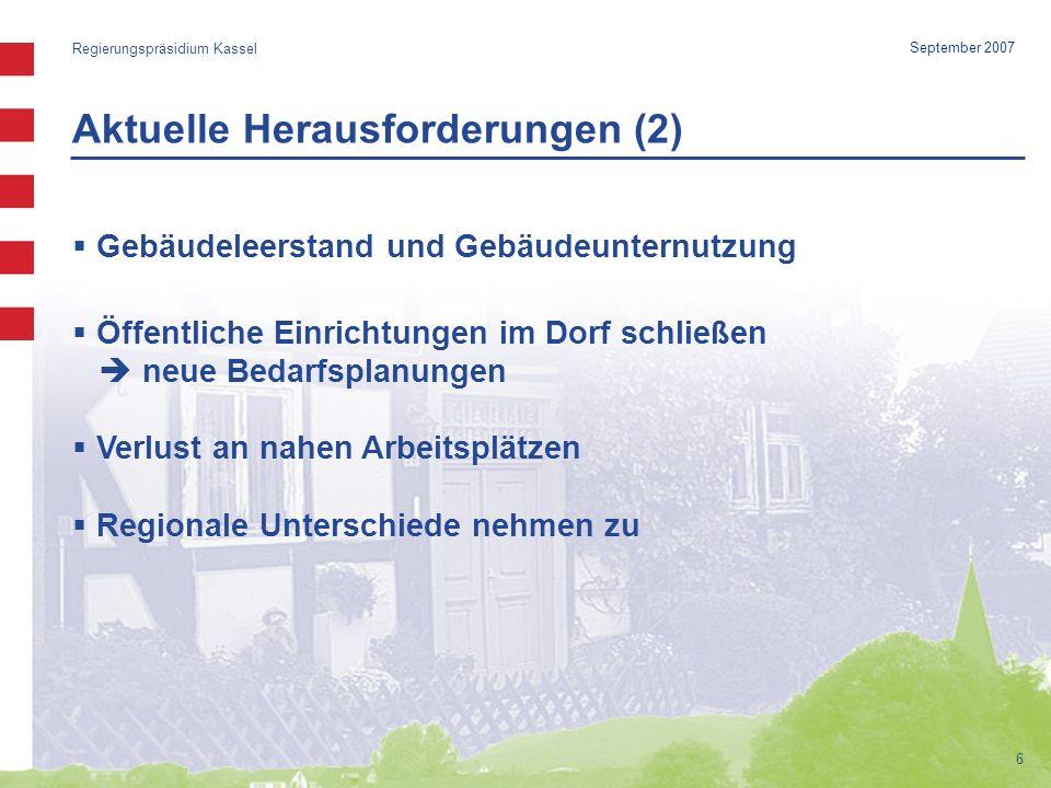 Aktuelle Herausforderungen (2) Regierungspräsidium Kassel 6 September 2007 Gebäudeleerstand und Gebäudeunternutzung Öffentliche Einrichtungen im Dorf schließen neue Bedarfsplanungen Verlust an nahen Arbeitsplätzen Regionale Unterschiede nehmen zu
