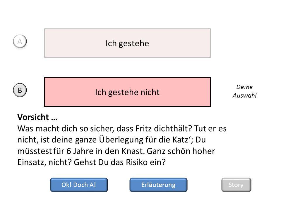 Ok.Doch A. Vorsicht … Was macht dich so sicher, dass Fritz dichthält.